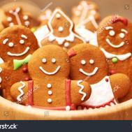 Christmas Homemade Gingerbread Cookies Table Stock