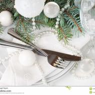 Christmas Table Setting Decoration White Stock
