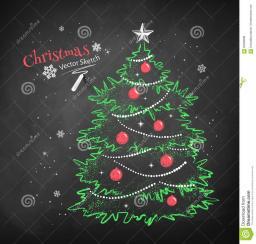 Christmas Tree Black Chalkboard Stock Vector