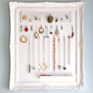 Classic Framed White Jewelry Holder Diy Using Artistic