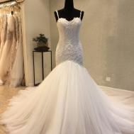 Classic Mermaid Spaghetti Straps Tulle Lace Wedding Dress