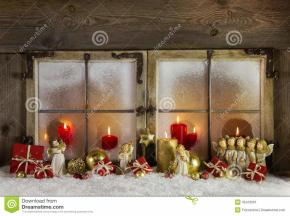 Classical Christmas Wooden Window Decoration Red