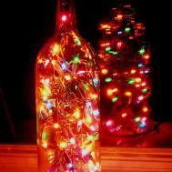 Clear Wine Bottle Light Multi Colored Lights