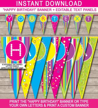 Colorful Banner Template Happy Birthday