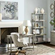 Contemporary Home Office Stone Fireplace Ballard