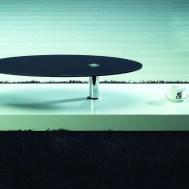 Contemporary White Black Coffee Table Unique Oval