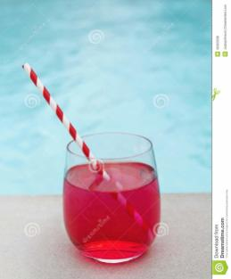 Cool Summer Cocktail Pool Stripe Straw Stock