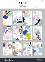 Creative Calendar 2017 Templates Leaves Flowers Stock