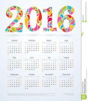 Creative Colorful 2016 Calendar Design Stock Vector
