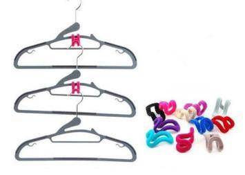 Creative Mini Flocking Clothes Hanger Easy Hook Closet