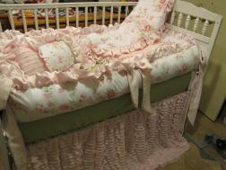 Custom Crib Set Pinks Grey But Shabby Chic Style 6pc