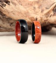 Custom Set Amboyna Burl Ebony Wooden Wedding Rings