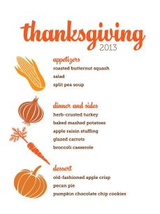 Customizable Thanksgiving Menus