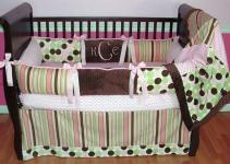 Cute Baby Girl Bedding Ideas Stripes Polkadots