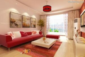 Cute Decorate Beige Living Room Design Ideas Red Sofa