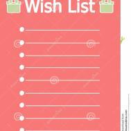 Cute Printable Christmas Wish List Stock Vector