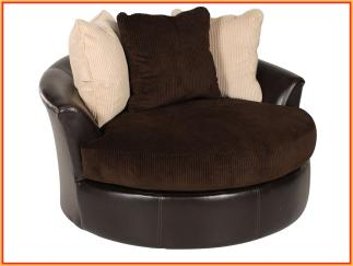 Dark Brown Leather Swivel Arm Chair Foot Rest