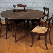 Dark Brown Stained Wooden Expandable Dining Table