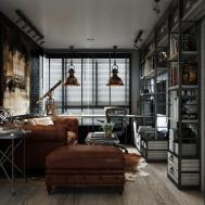 Dark Color Small Apartment Interior Design