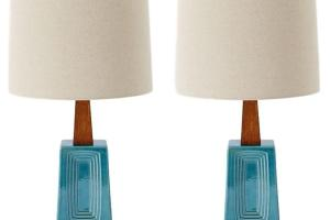 Dbo Mid Century Modern Handcrafted Blue Table Lamps