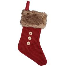 Decoration Red Knitted Christmas Stocking Brown Faux