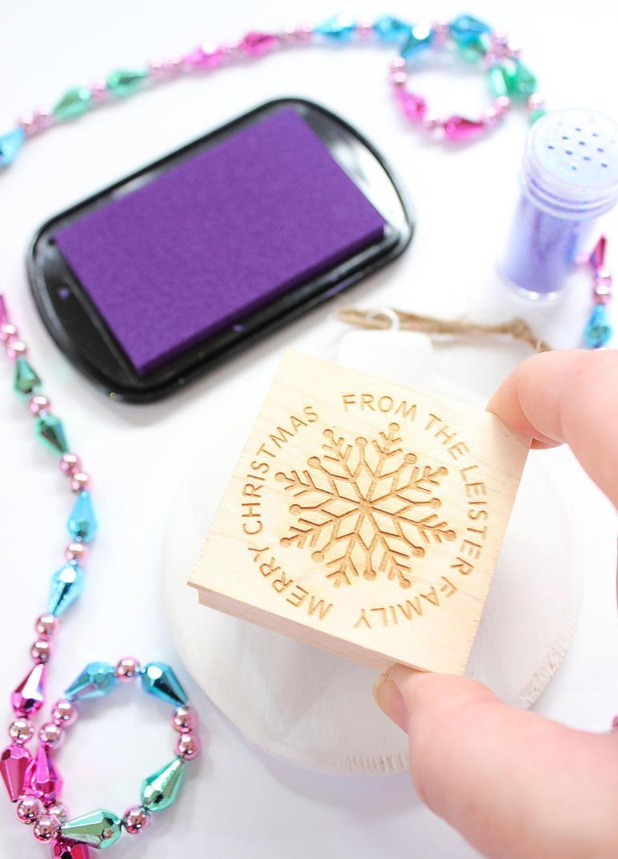 Diy Glitter Stamped Wood Ornaments