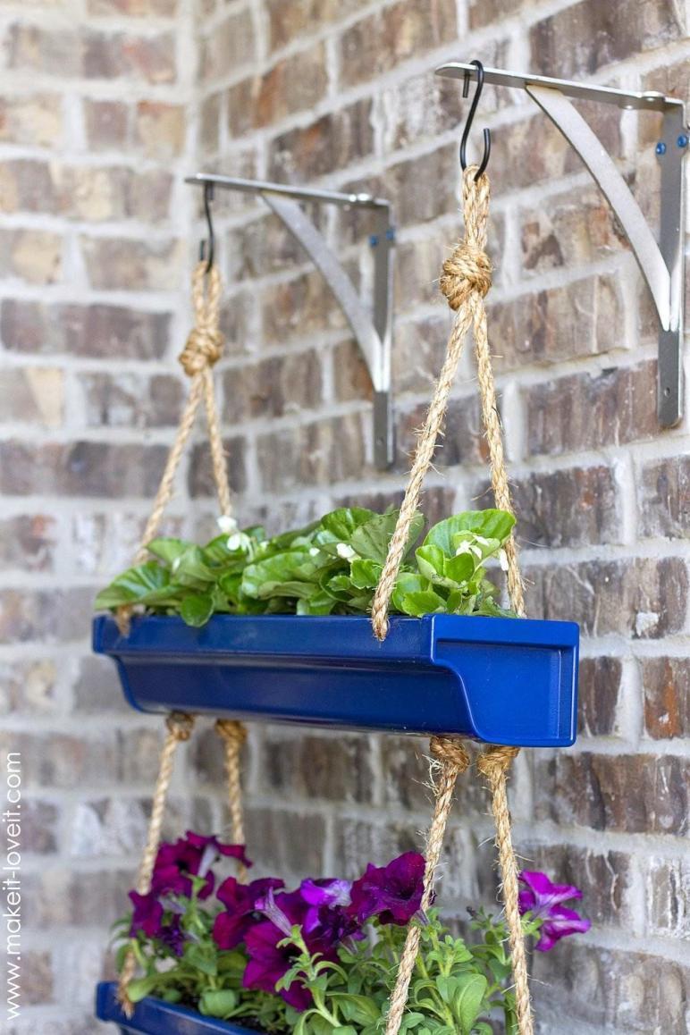 Diy Hanging Rain Gutter Planters Make Love