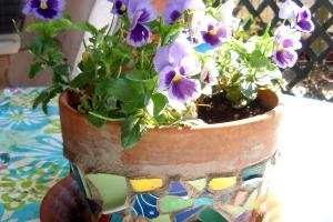 Diy Mosaic Flower Pot Centerpieces Art Nouveau Bride