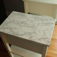 Diy Nightstand Upgrade Marble Contact Paper