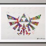 Diy Original Watercolor Legend Zelda Triforce Canvas