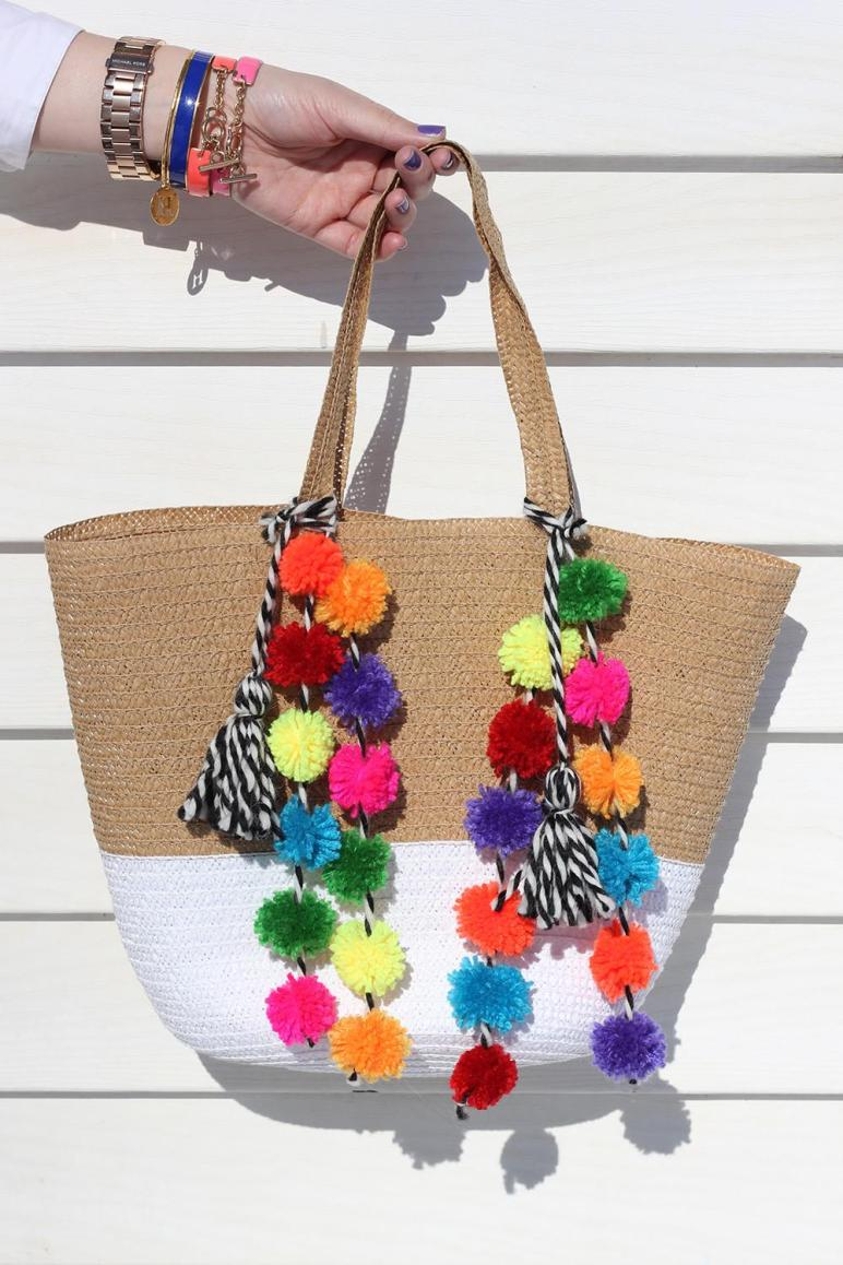 Diy Pom Beach Bag Homemadebanana