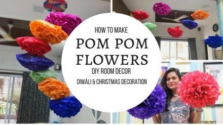 Diy Room Decor Pom Flowers Diwali Decoration