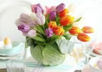 Diy Tulip Cabbage Flower Arrangement Easter Darling