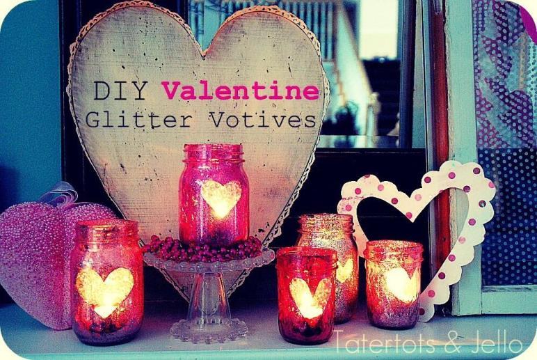 Diy Valentine Glitter Votives Trusper