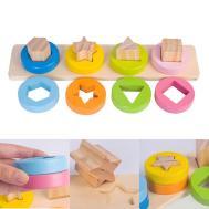 Diy Wooden Geometric Sorting Board Blocks Kids Montessori