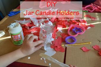 Easy Kid Craft Glass Jar Candle Holders Food Fam