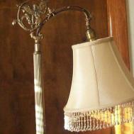 Elegant Small Beige Silk Shade Bridge Lamp Beads