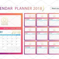 English Calendar Planner Year 2018 Week Start Sunday