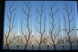 Etched Glass Windows Carved Painted Tree Branches