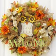 Fall Mesh Wreath Owl Welcome