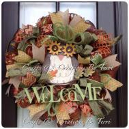 Fall Wreath Welcome Owl Createdbyterri