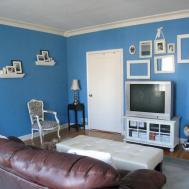 Family Room Comfortable Minimalist Blue Decor Ideas