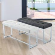 Faux Leather Backless Bench Entryway Contemporary Modern