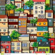 Favela Seamless Pattern Stock