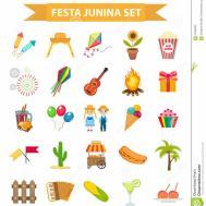 Festa Junina Set Icons Flat Style Brazilian Latin