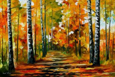 Fiesta Birches Palette Knife Oil Painting Canvas