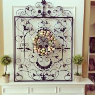Fireplace Mantel Decorated Easter