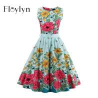 Floylyn Vintage Women Summer Dress Light Blue Floral Print