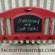 Footboard Repurposed Into Coat Rack Chalkboard