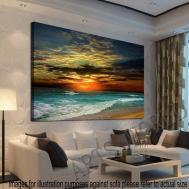 Framed Home Decor Canvas Print Modern Wall Art Seascape